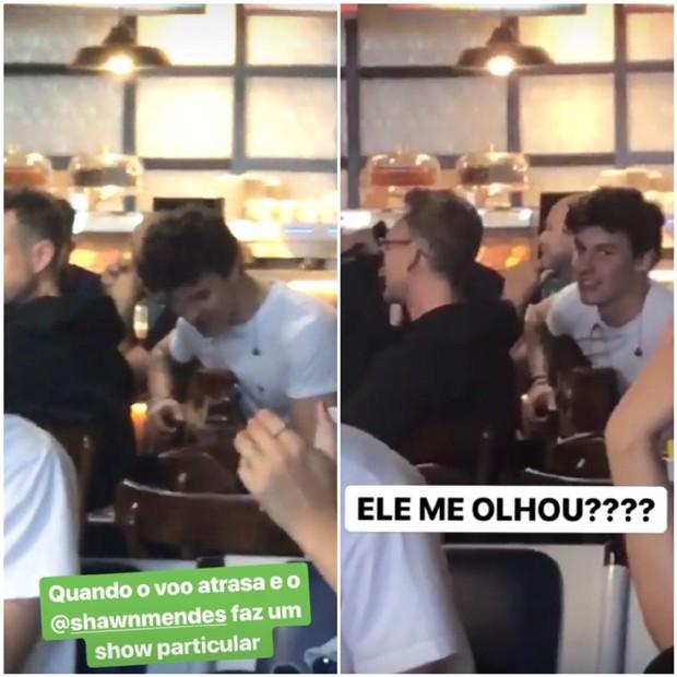 Shawn Mendes tocando violão no Aeroporto Internacional de Guarulhos (Foto: Reprodução/Instagram)
