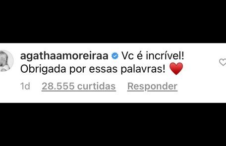 Agatha Moreira, por sua vez, elogiou a postura de Juliana   Reprodução