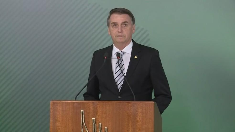 O presidente eleito, Jair Bolsonaro, durante pronunciamento no Palácio do Planalto — Foto: Reprodução/G1