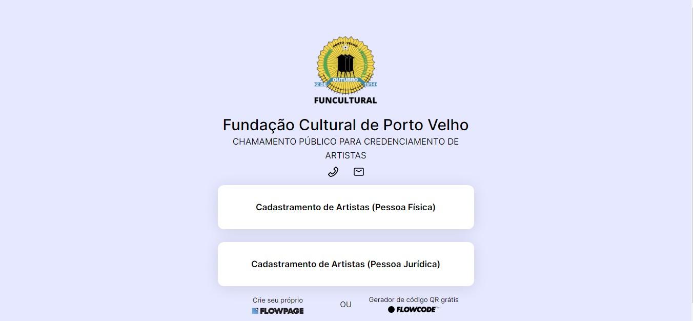 Edital para cadastro de artistas é divulgado pela Funcultural em Porto Velho