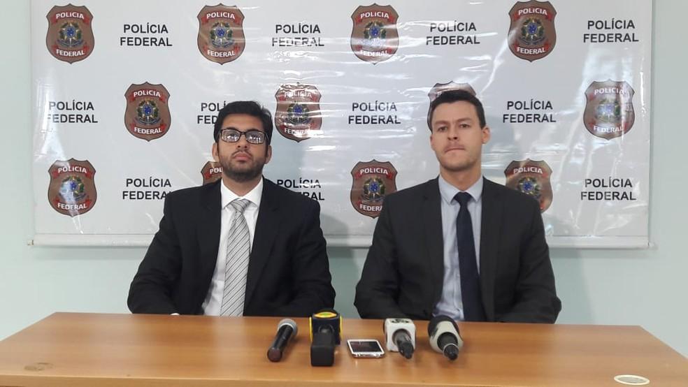 Delegado Rafael Leão e Marcus Vinicius falam sobre ação (Foto: Rinaldo Moreira/G1)