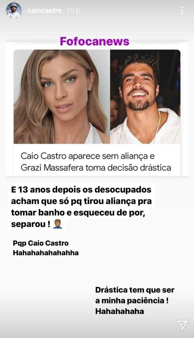 Caio Castro se manifesta sobre rumores de fim de namoro com Grazi (Foto: Reprodução/Instagram)