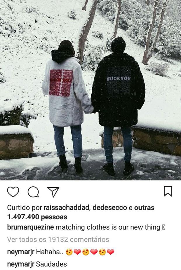 Comentários de Neymar na foto com Bruna Marquezine no Instagram (Foto: Reprodução/Instagram)