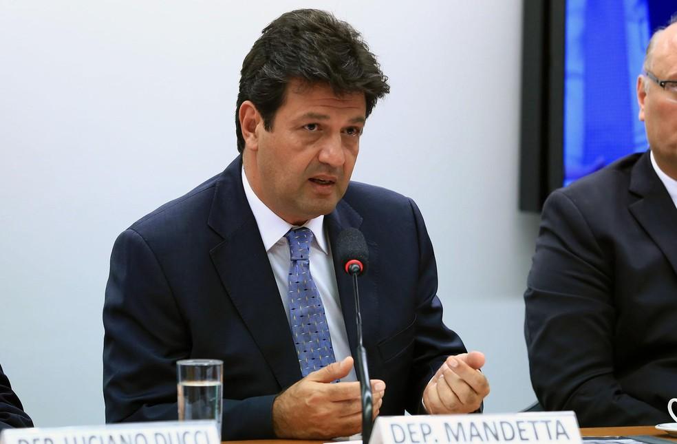 O deputado federal e futuro ministro da Saúde, Luiz Henrique Mandetta (DEM-MS), durante comissão na Câmara — Foto: Alex Ferreira/Câmara dos Deputados