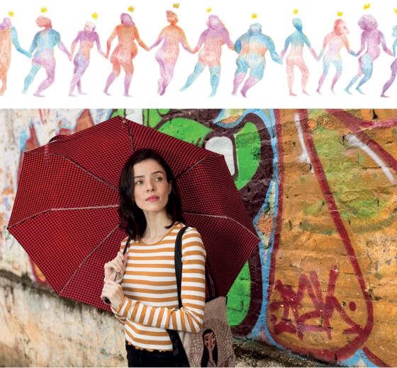 """PRESENÇA A mineira Lu Cafaggi, primeira quadrinista a assinar o cartaz oficial do FIQ, e sua ilustração para ÉPOCA. """"A cada ano, temos mais mulheres nas exposições"""", disse (Foto: Gustavo Baxter / NITRO)"""