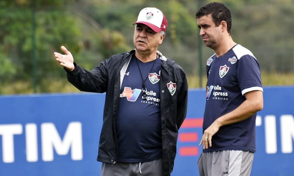 Marcelo Oliveira e Fábio Moreno em treino do Fluminense — Foto: Divulgação