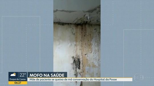 Imagens mostram mofo nas paredes da enfermaria do Hospital da Posse, em Nova Iguaçu, no RJ