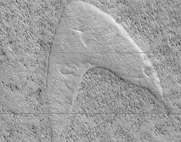 Símbolo da Frota Estelar, de Star Trek, é encontrado em Marte (Foto: Divulgação)