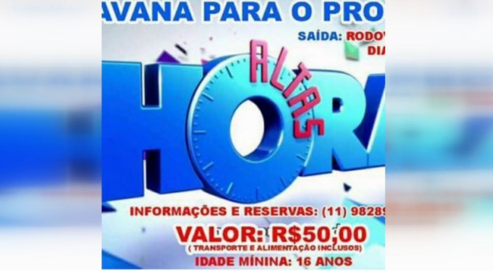 Anúncio da falsa excursão para programa Altas Horas em grupo de São Carlos (Foto: Wilson Aiello/ EPTV)