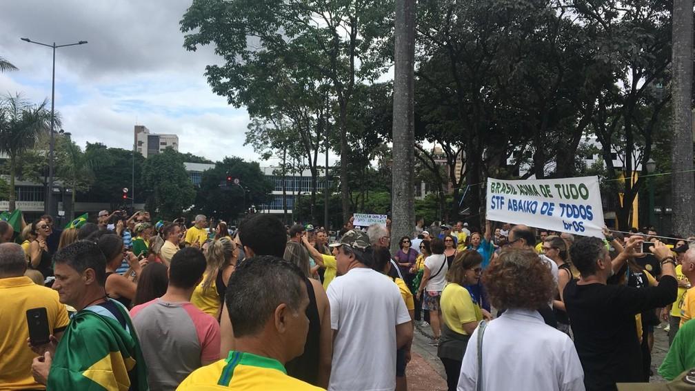Manifestantes se reúnem em ato a favor da Lava Jato e contra o STF, em Belo Horizonte, neste domingo (17) — Foto: Carlos Eduardo Alvim/TV Globo