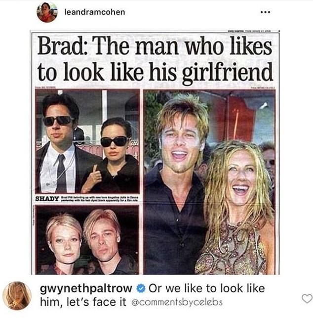 O meme comentando por Gwyneth Paltrow fazendo piada entre a semelhança do ator Brad Pitt com suas ex-namoradas (Foto: Instagram)
