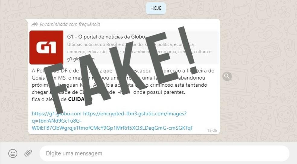 Mensagem circula pelas redes sociais dizendo que Lázaro teria escapado para Mato Grosso do Sul — Foto: Reprodução