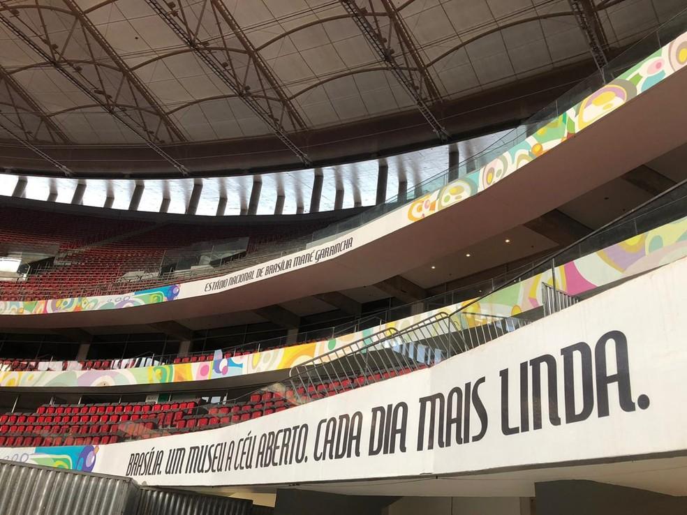 Estrutura do FunFest no Mané Garrincha — Foto: Nicole Angel/ G1