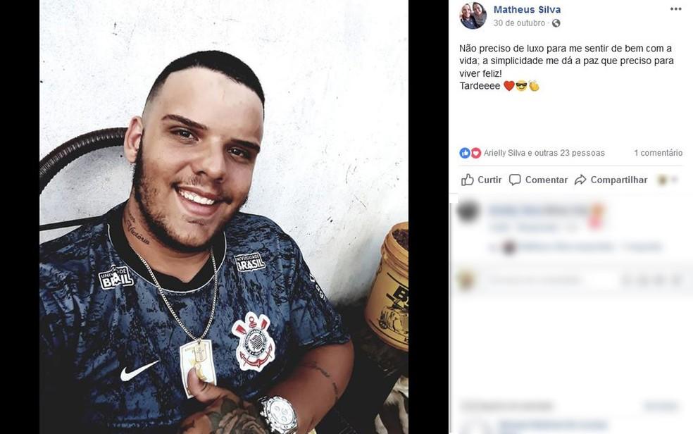 Matheus Silva, de 23 anos, morreu após ser baleado no meio da rua em Barretos, SP — Foto: Reprodução/Facebook