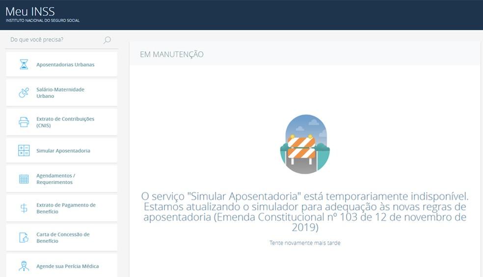 Simulador de aposentadoria disponível no site Meu INSS ainda não foi atualizado com as novas regras — Foto: Reprodução