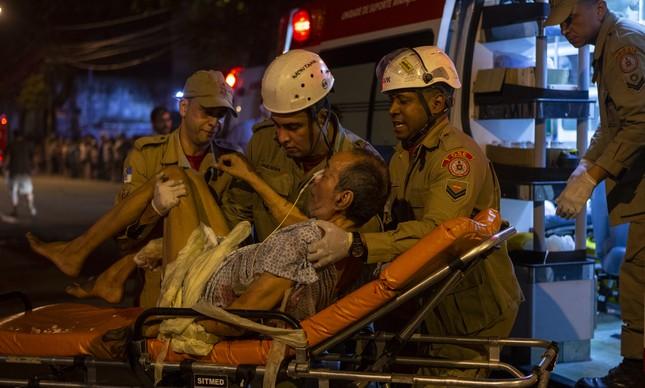 Paciente socorrido durante incêndio no Hospital Badim, em 2019