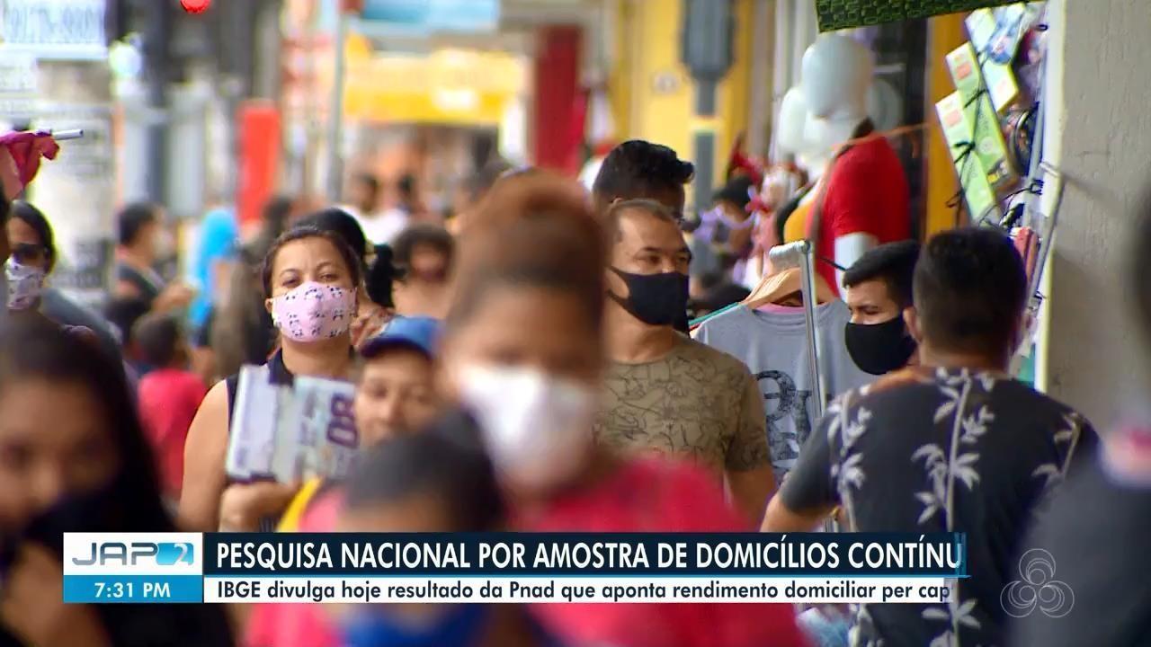 IBGE divulgou resultado da Pnad Contínua que aponta rendimento domiciliar per capita