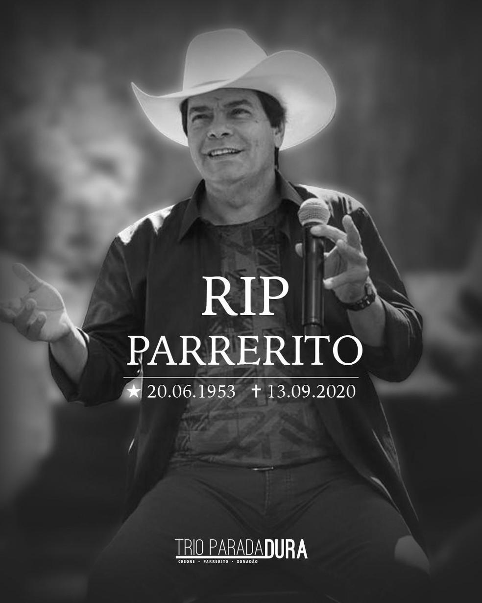 Parrerito, do Trio Parada Dura, morreu neste domingo (13) — Foto: Trio Parada Dura/Divulgação