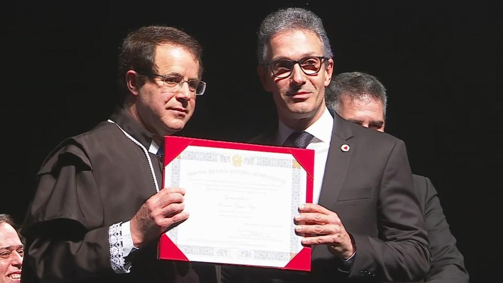 Zema é diplomado em cerimônia em Belo Horizonte — Foto: Reprodução/Globo