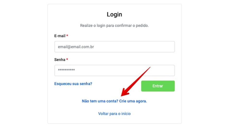 Faça login na sua conta ou cadastre-se — Foto: Reprodução/Helito Beggiora