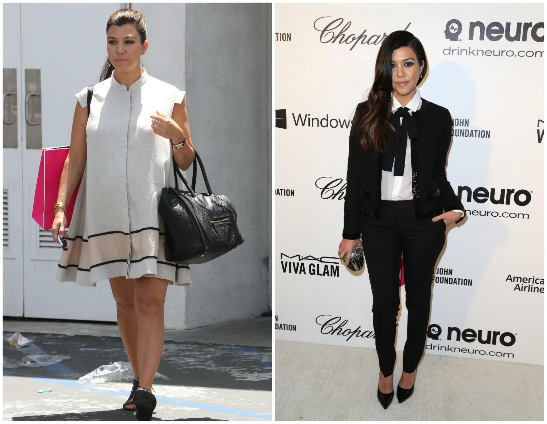 Kourtney Kardashian em maio de 2012 (à esq.) e em março de 2014. Ela deu à luz Penelope em julho de 2012. (Foto: Getty Images)