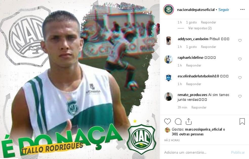 Ítallo Rodrigues está de volta ao Nacional de Patos para a temporada 2019 — Foto: Reprodução / Instagram