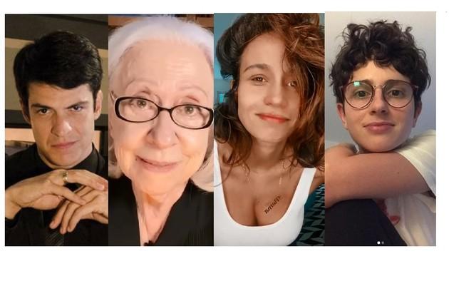 Mateus Solano, Fernanda Montenegro, Nanda Costa e Carol Duarte são alguns dos artistas que darão depoimentos na série sobre personagens LGBTQIA+ (Foto: Divulgação e Reprodução/Instagram)