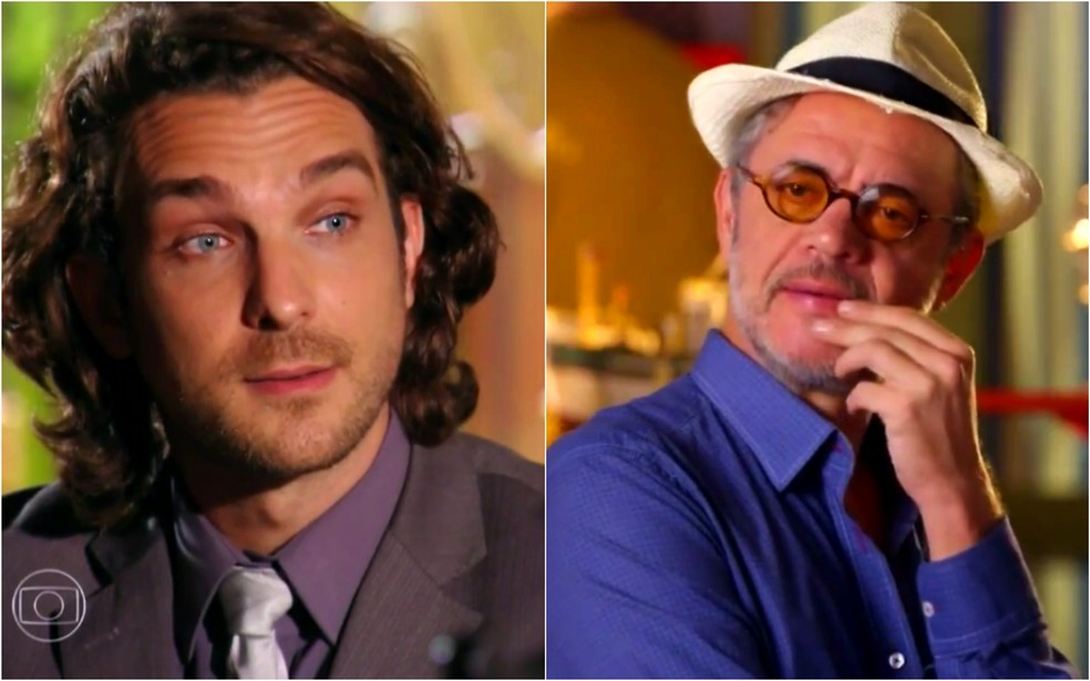 Alberto (Igor Rickli) fica surpreso ao descobrir os crimes cometidos por Duque (Jean Pierre Noher) - 'Flor do Caribe' — Foto: Globo