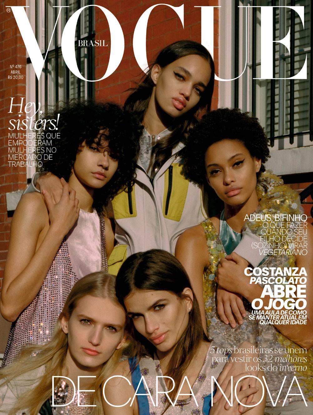 Ellen Rosa, Fernanda Oliveira, Samile Bermannelli, Mia Brammer e Linda Helena na capa da edição de abril da Vogue Brasil. (Foto: Zee Nunes; edição de moda: Daniel Ueda; cabelo: Lucas Wilson; maquiagem: Frankie Boyd)