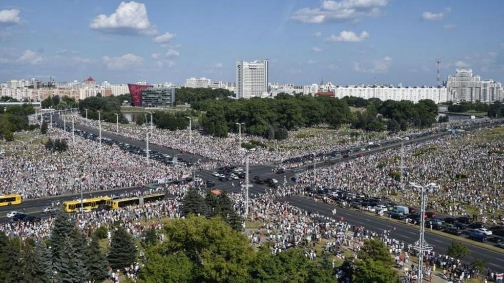Belarus atravessa crise histórica desde eleições presidenciais de 9 de agosto — Foto: Getty Images/BBC