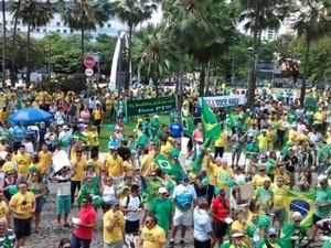 Concentração do protesto na praça portugal em fortaleza (Foto: GAbriela ALves)