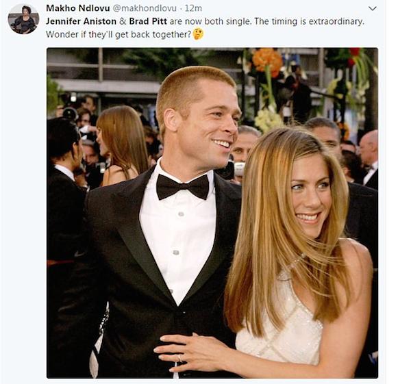 Um fã cogitando a retomada do relacionamento da atriz Jennifer Aniston com o ator Brad Pitt após o anúncio do término do casamento da ex-protagonista de Friends com o ator Justin Theroux (Foto: Twitter)