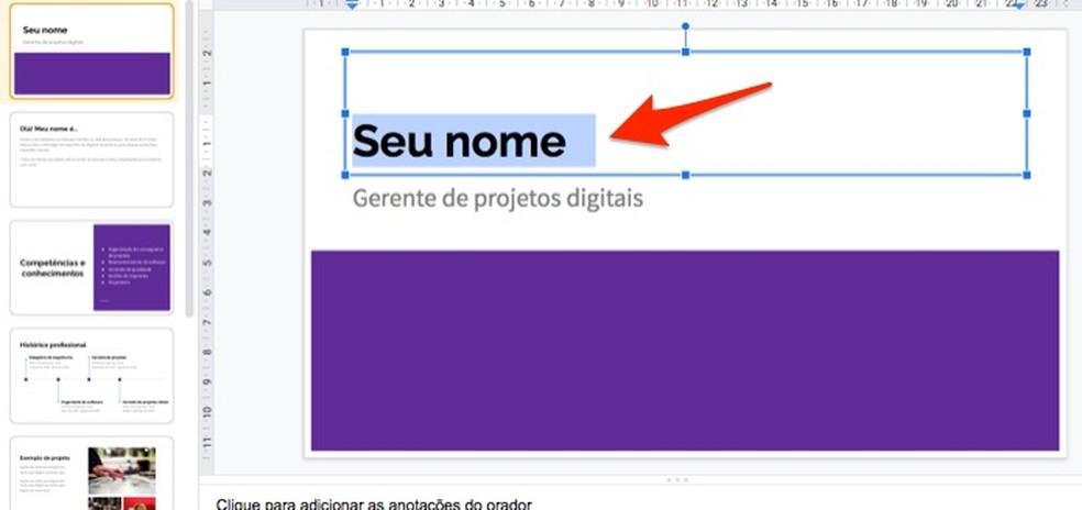 Ação para editar trechos de textos em um modelo de perfil profissional criado no Google Forms — Foto: Reprodução/Marvin Costa
