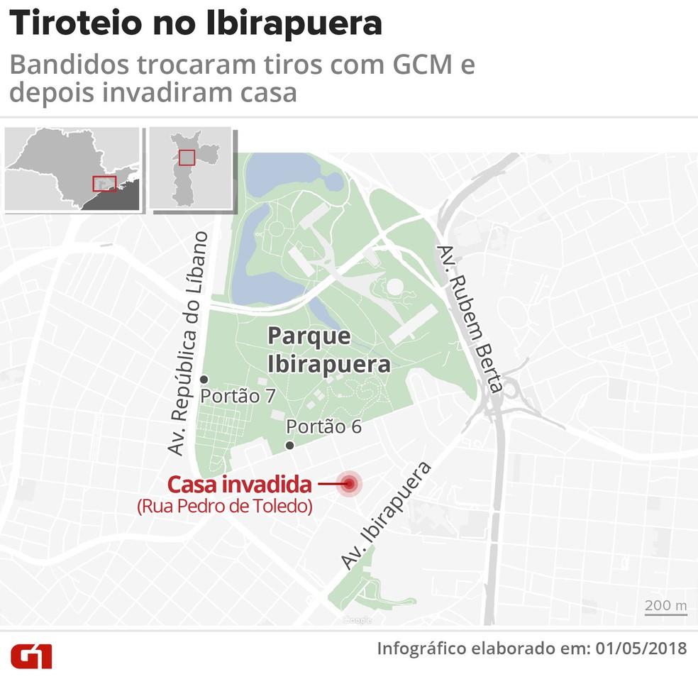 Veja onde foi o tiroteio no Ibirapuera (Foto: Igor Estrella/Editoria de Arte/G1)