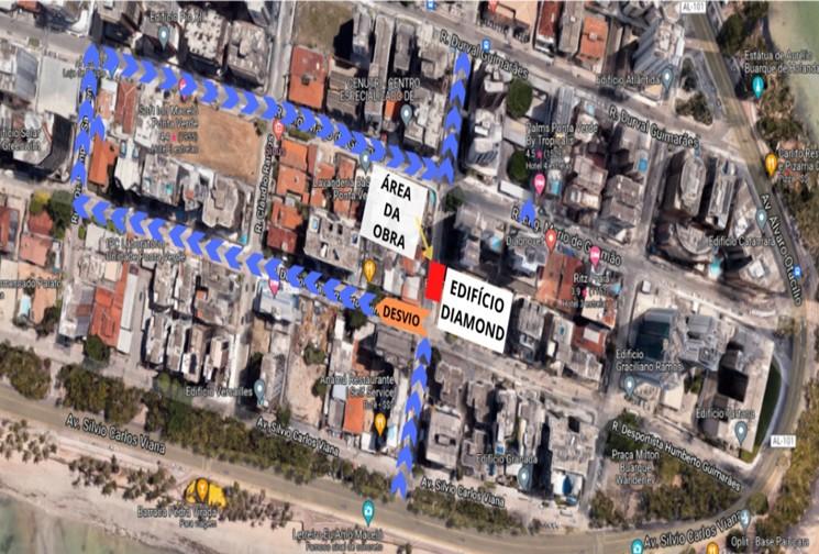 Obra de saneamento interdita trechos de duas ruas na Ponta Verde, em Maceió