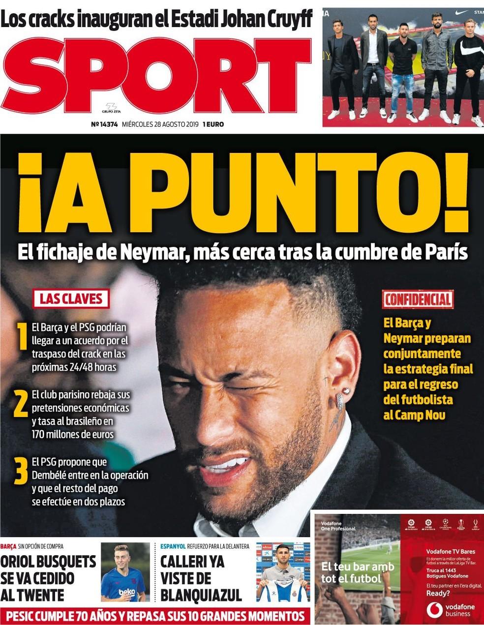Capa do Sport sobre Neymar, Barcelona e Paris Saint-Germain — Foto: Divulgação