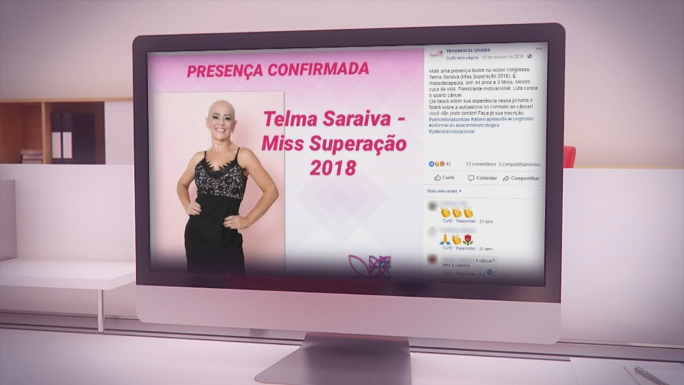 Telma Cristina fazia divulgação pelas mídias sociais. — Foto: TV Globo