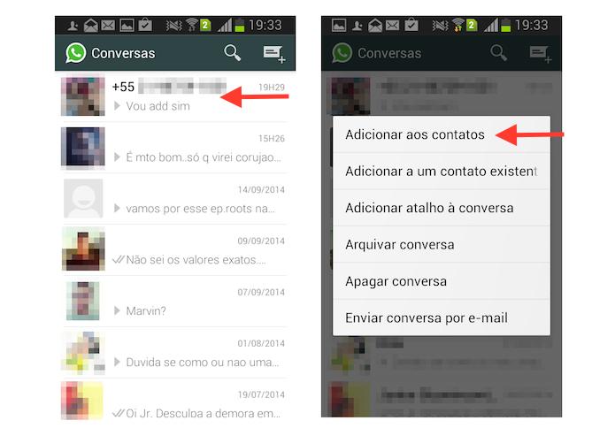 Adicionando um contato do WhatsApp a agenda do dispositivo Android (Foto: Reprodução/Marvin Costa)