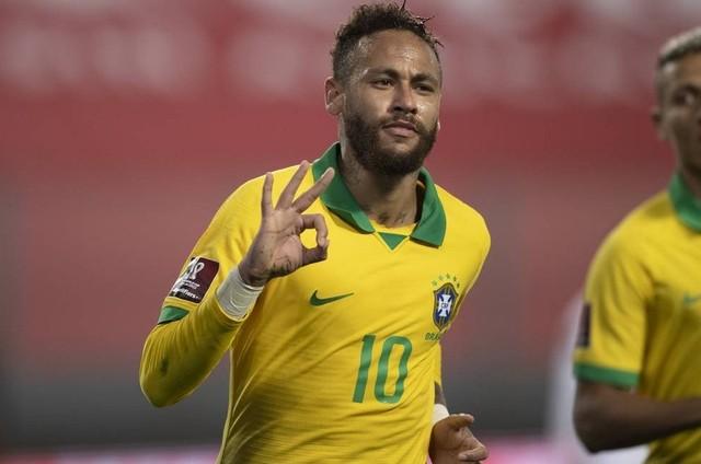 Neymar durante Peru x Brasil (Foto: Lucas Figueiredo/CBF)