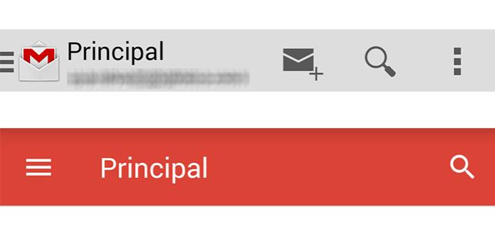 Nova barra superior do Gmail só mostra botão de buscas (Foto: Paulo Alves/TechTudo)