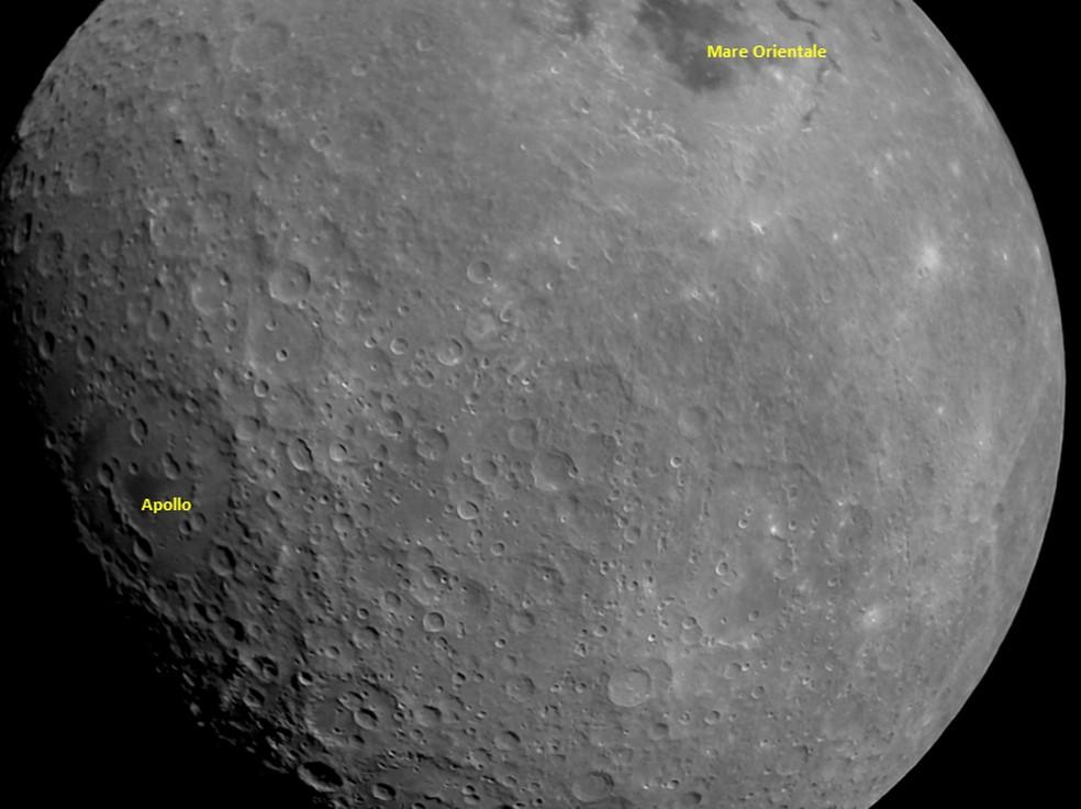 Lado oculto da Lua durante aproximação da sonda Chandrayaan-2 — Foto: ISRO