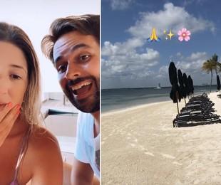 Depois de uma viagem a Punta Cana, na República Dominicana, Dani Calabresa curte Cancún, no México, com o namorado Richard Neuman. Eles estão no resort Nizuc, tem diária entre três e oito mil reais. Ao fundo, é possível ver a piscina privativa   Reprodução