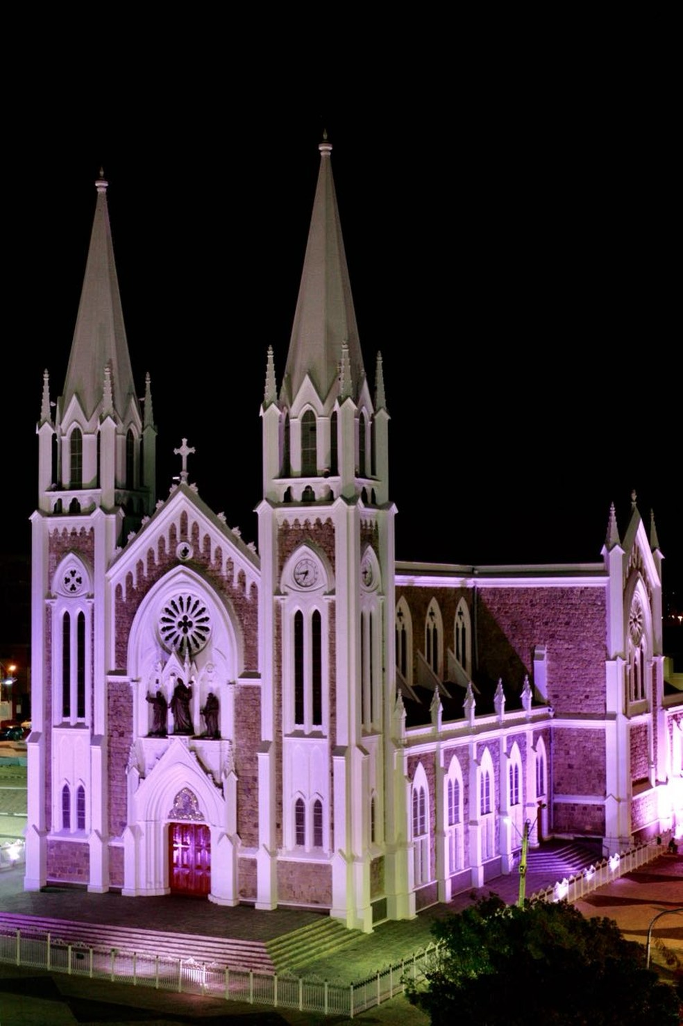 Catedral de Petrolina ganha iluminação rosa  — Foto: Jonas Santos/ PMP