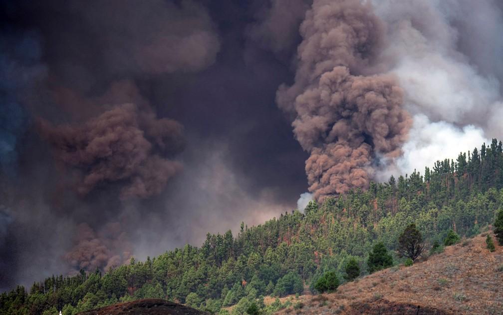 Fumaça é expelida de vulcão no parque nacional Cumbre Vieja em El Paso, na ilha de La Palma, no domingo (19) — Foto: Desiree Martin/AFP