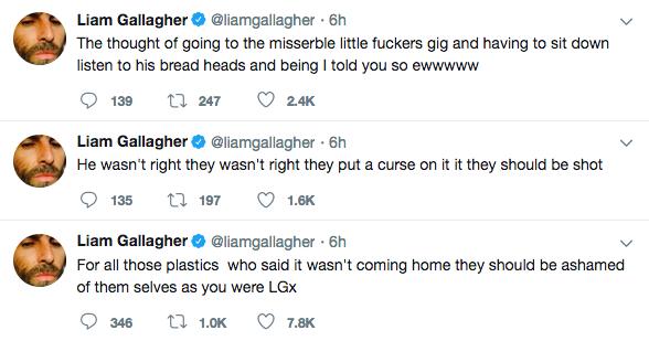 As declarações de Liam Gallagher culpando o irmão Noel Gallagher pela derrota da Inglaterra na Copa (Foto: Twitter)