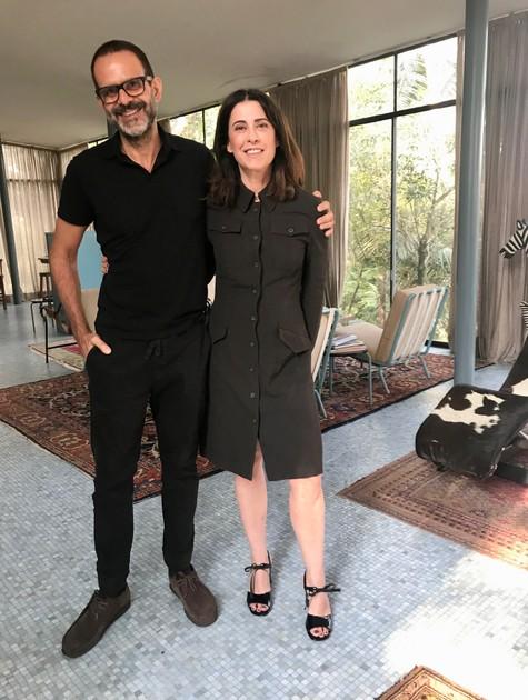 Alberto Renault e Fernanda Torres nas gravações do 'Casa Brasileira' (Foto: Daniel Martins)