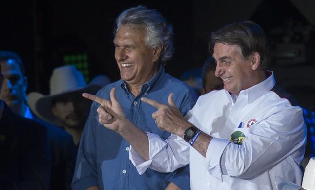 Bolsonaro e Ronaldo Caiado em evento em Barretos, em 2019