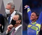 CPI da Covid e Rebeca Andrade nas Olimpíadas | Edilson Rodrigues/Agência Senado e Lindsey Wasson/Reuters
