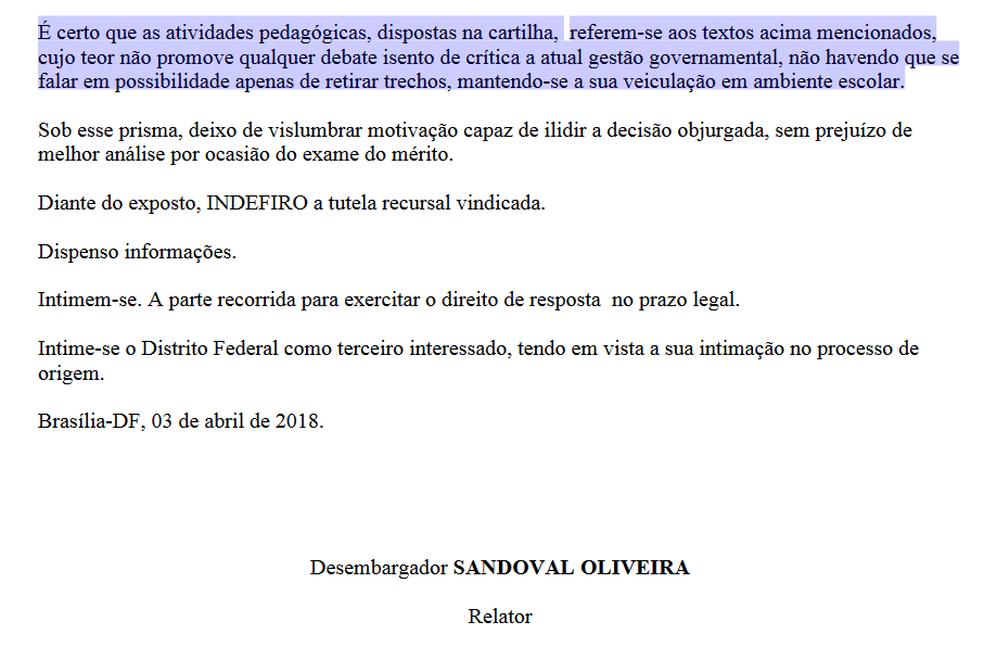Trecho da decisão do TJ sobre suspensão de cartilha anti-Rollemberg (Foto: TJDFT/Reprodução)
