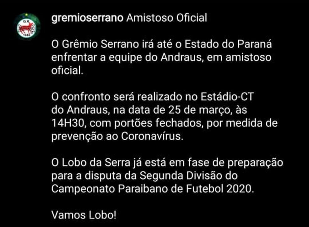 Serrano-PB divulga amistoso contra o Andraus, agendado para 25 de março — Foto: Reprodução / Instagram